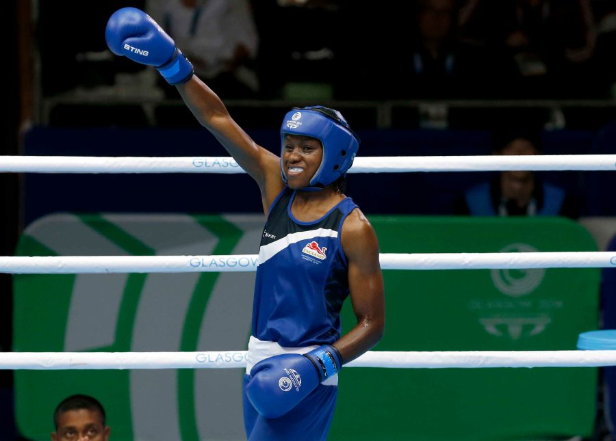 Nicola Adams of England boxing in the Commonwealth Games