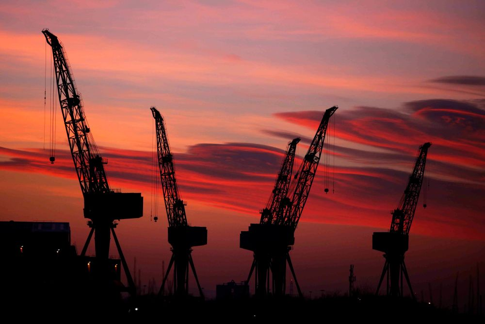 The Old Shipyard Cranes on The River Clyde in Glasgow.