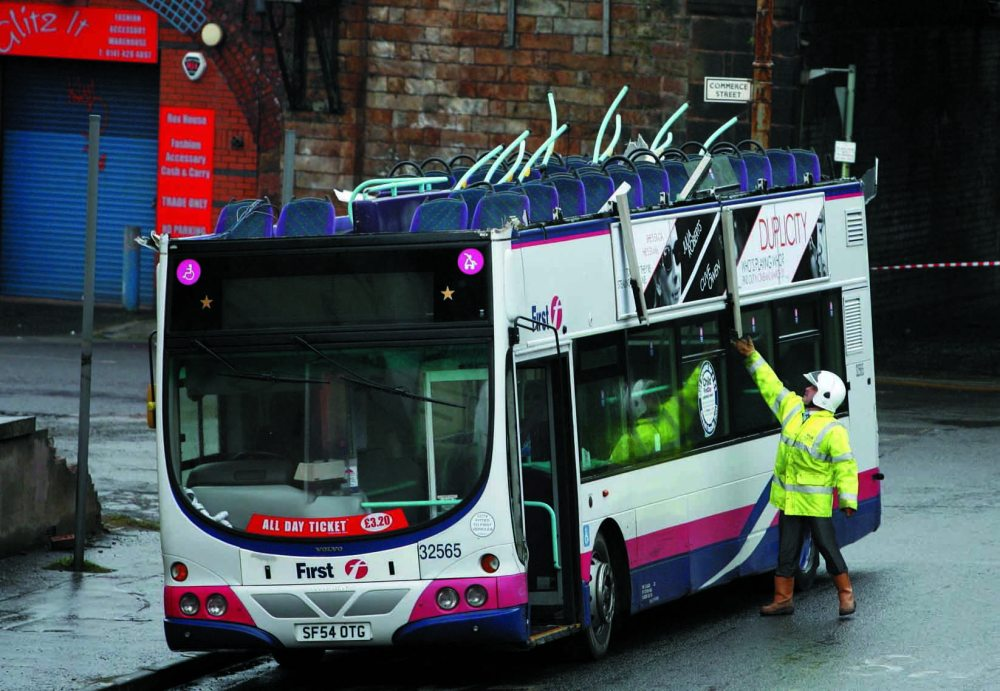 The remains of a bus which crashed into a bridge at Cook Street and Commerce  Street off Eglinton Street Glasgow. This was an incident where no one was hurt but it could have been so easily have been a tragedy.