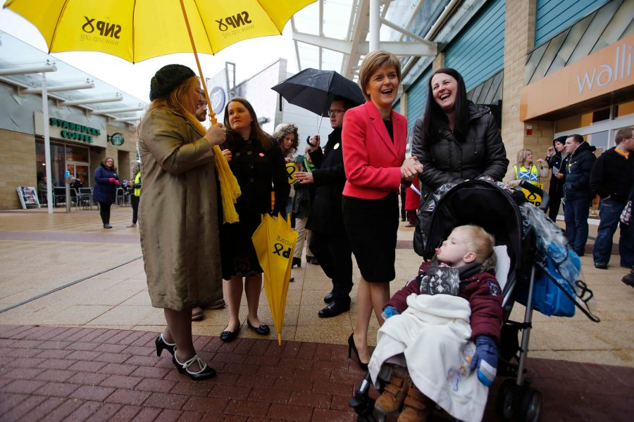 First Minister and SNP leader Nicola Sturgeon on the campaign trail in Glasgow East. Glasgow Fort Shopping Park.