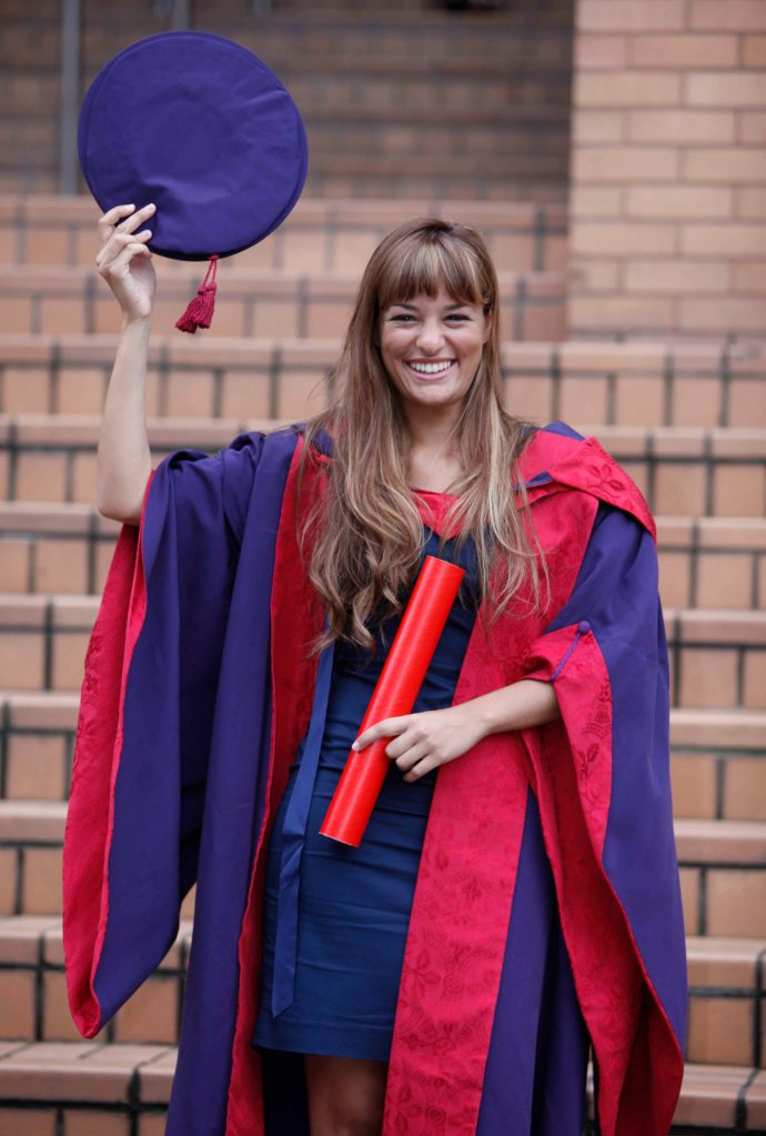Violinist Nicola Benedetti with her Honorary Doctorate from the Royal Conservatoire of Scotland.