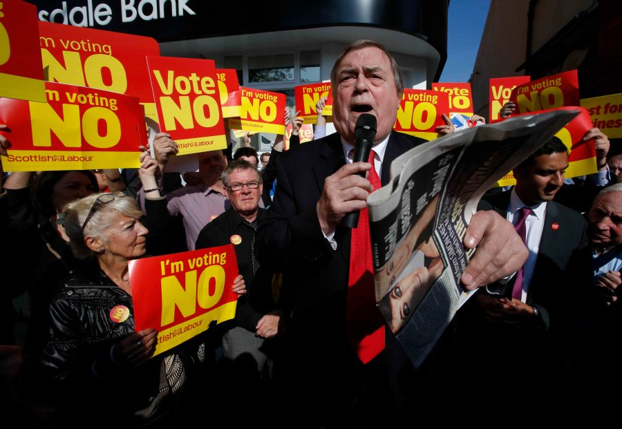 Labour's John Prescott on referendum campaign on Rutherglen Main Street.