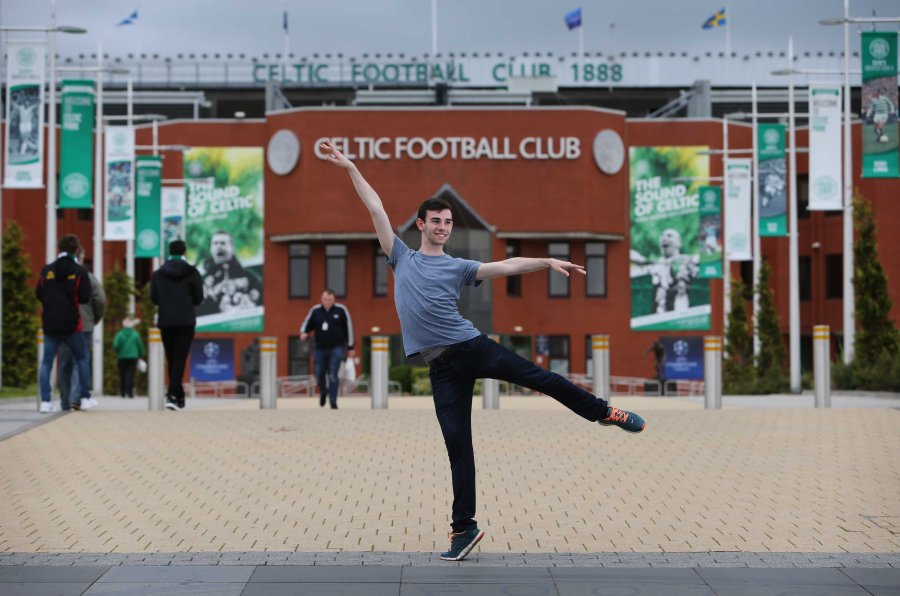 Jamie Reid at Celtic Park. He is the newest recruit at Scottish Ballet. He grew up and lives in the East End and is a big Celtic fan. He has said joining Scottish Ballet was like being signed for them. He's 19 and has a bit of a Billy Elliot story, didn't tell his friends at school he was taking ballet classes and even when he went to the Conservatoire to study for three years, told his pals he was doing sound and light engineering rather than ballet. Photograph by Martin Shields Herald & Times Ltd