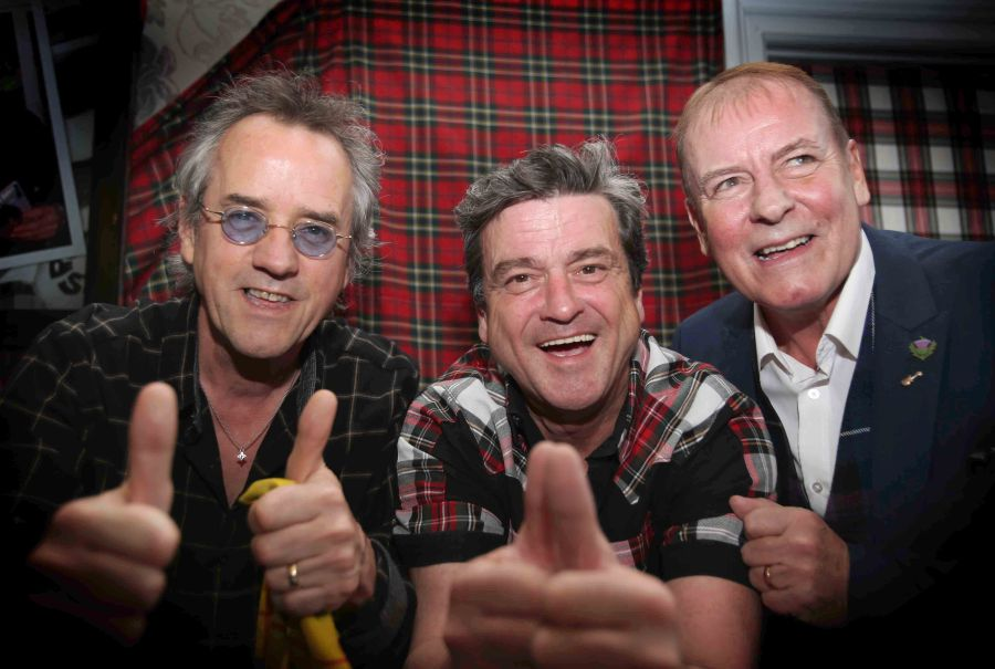 The Bat City Rollers at the Central Hotel in Glasgow. l to r Stuart Wood , Les McKeown and Alan Longmuir Photograph by Martin Shields Herald & Times Ltd