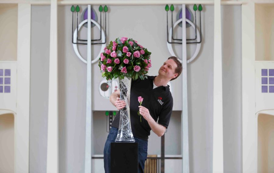 Nick Priestly of Mood Flowers arranging Coolwater Roses in The House For an Art Lover for a two day exhibition The Flowers of Charles Rennie Mackintosh starting on Wed 2nd April. The exhibition features a series of workshops and guided tours Pictures Martin Shields Herald and Times Group.