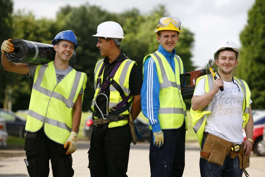 Apprentices l to r Mark Doris (21) , (Felt roofing) , Paul Macgee (24) (Scaffolding), Michael Harris (18) (roof and cladding) and Sean Hennessey (20) (suspension ceiling) at the new National Construction College Scotland based in Inchinnan Business Park. The Scottish construction industry has launched the flagship multi million pound training centre and Scottish Headquarters.