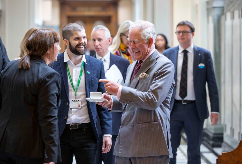 HRH Prince Charles at The Mitchell Library for  Macmillan Cancer Support
